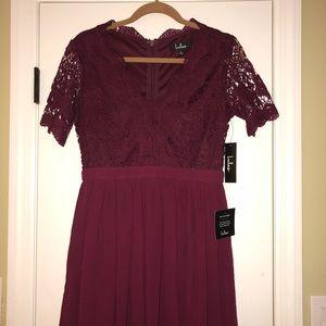 NEW Lulu's Burgundy Lace Skater Dress